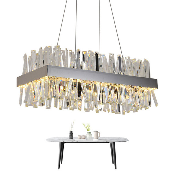 Luxury Modern Crystal Chandelier Lighting Square Chandeliers with Crystal Tube Gold/ Chrome for Dinning Room Living Room