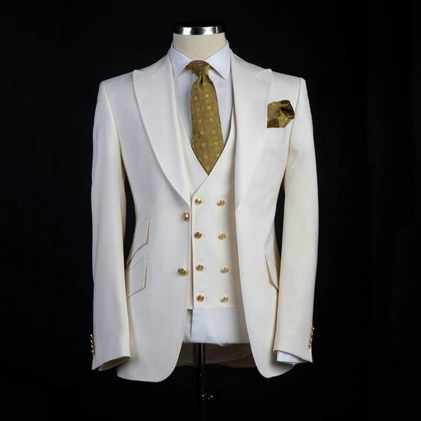 Classic style Groom Tuxedos Big Pesked Lapel Groomsman Suit White Blazer as Wedding suit Custom Made Man Suit Jacket+pants+vest