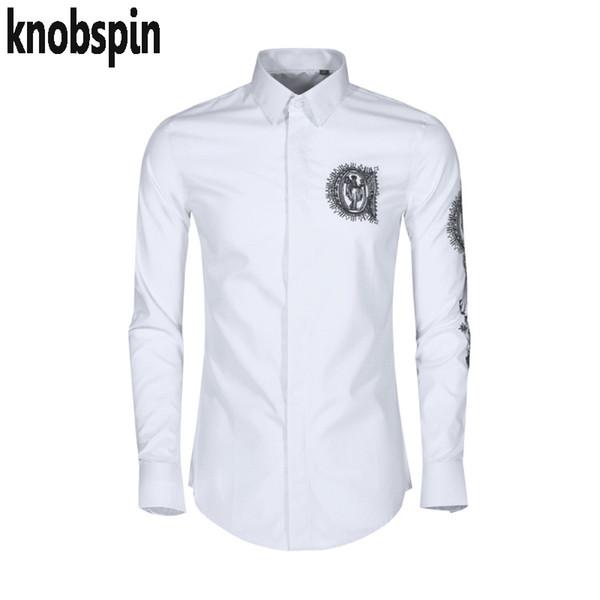 Camicia elegante ricamo uomo 2019 Camicia maniche lunghe in cotone di alta qualità Chemise homme Taglie forti Camicia da uomo casual business casual