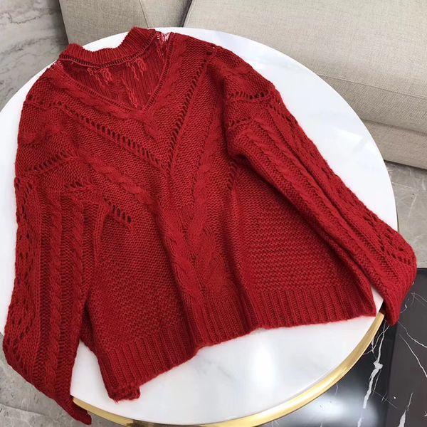 Donne maglione lavorato a maglia elegante a righe donne maniche lunghe maglione nero e rosso donna scava fuori moda morbido pullover