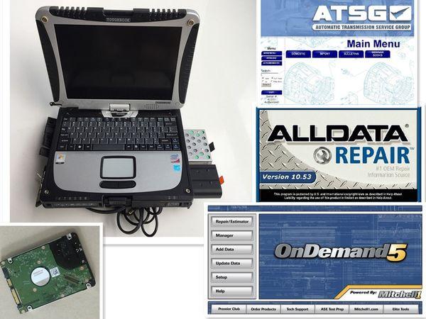 Alldata v10.53 + mitchell on demand 2015 + software atsg 3 in 1 TB HDD + Laptop cf-19 Pronto per l'uso DHL gratis