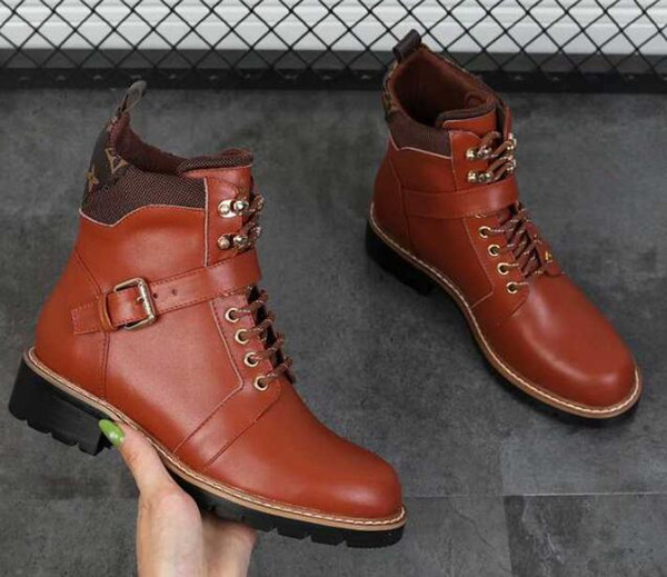 Hot Sale-Brand Name Louise Womens Square Heel Ankle Martin Army Waterproof Autumn Winter Boots Outdoor Cow Leather Shoes Size 35-42