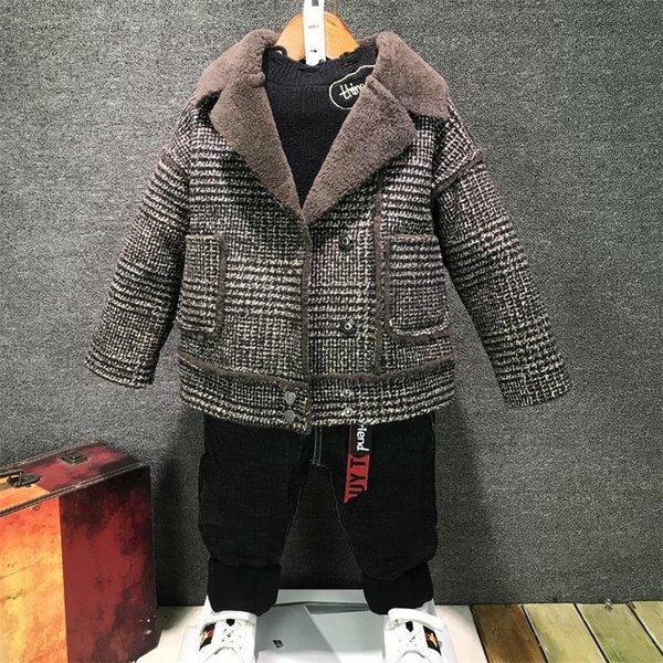 Winter Herbst Warm Baby Pelzjacken Plaid Wolle Kinder Mäntel beiläufige Velvet verdicken Kind-Oberbekleidung Kleidung 2-6T