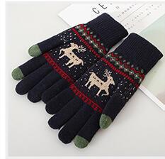 2018 Warm Winter Female Wool Knitted Wrist Gloves Women Men Snowflake Pattern Full Finger Unisex Gloves Mittens Driving Gloves