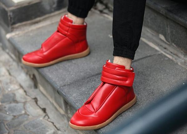 Yeni Yüksek Üst Bootie Deri Yürüyüşü sneakers Erkekler Moda Rahat Ayakkabılar Erkekler Flats el yapımı ayakkabı