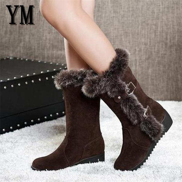 Marrone New Winter Donna Casual Warm Fur Mid-Calf Boots scarpe Donna Slip-On Punta a punta appartamenti Snow Boots scarpe Muje Plus size 35-42