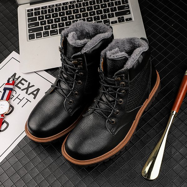 2019 new men's boots outdoor shoes brand leather boots large pier leather high-cotton couple snow large size 47