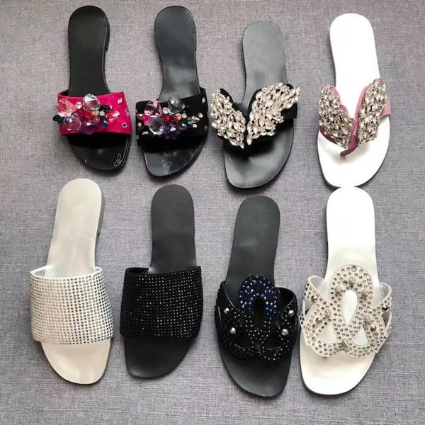 Marque sandales concepteur de femmes cristal cuir chaussons plats chiquenaude Thong été Sandal plage flop, antidérapante Flip flops extérieure GZ18 US 4-10