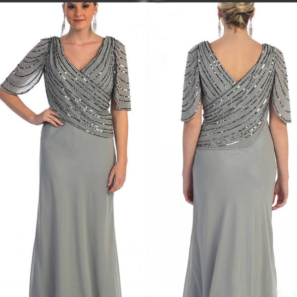 Grey Mother Of The Bride Dresses Plus Size Sequins Chiffon Prom Party Gowns  Long Sleeves Mother\'S Dresses Formal Wear Vintage Mother Of The Groom ...