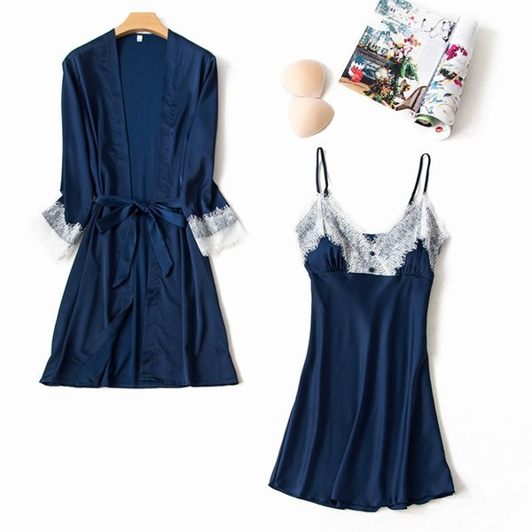 Women Silk Sexy Robe Gown Sets Satin Lace V-neck Dressing Gowns Nightdress 2 Pieces Sleepwear With Chest Pads