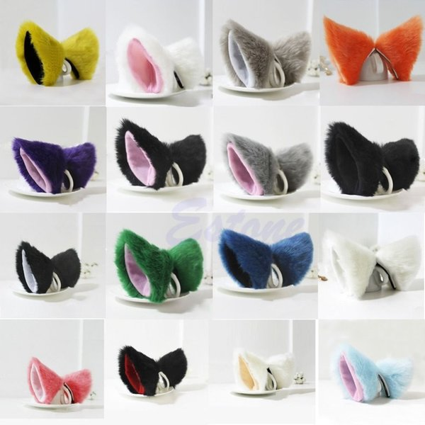 50PCS Lovely Cat Fox lunghe orecchie di pelliccia Neko Costume Clip di capelli Cosplay Party Halloween Orecchiette AIJILE