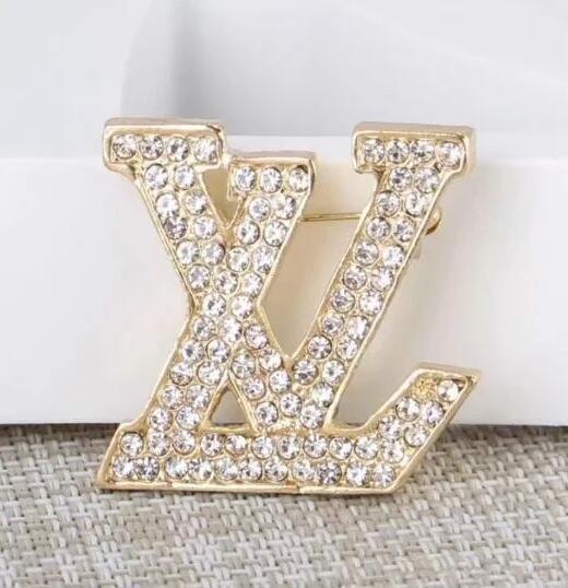 2019 Designer De Luxo Requintado Dupla Carta Broche Para As Mulheres Declaração de Moda Marca Broches Pinos Acessórios Jóias Presente 035