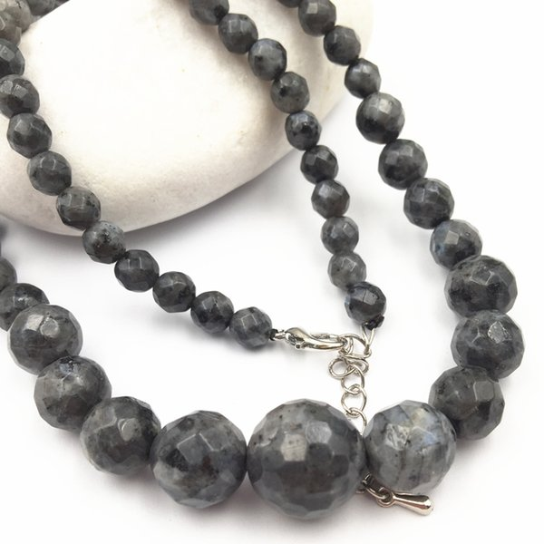 """Natural Stone Labradorite Beads Strand Necklace for Women Faceted Round 6-14mm Tower Chain Statement Necklaces Jewelry 18"""" A449"""