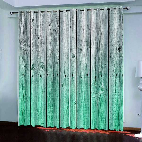 top popular custom bCurtain Decoration 3D Brief Blue gray wooden board Curtains For Bedroom Living room Polyester Room Curtain 2021