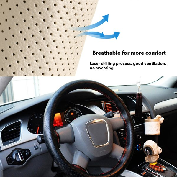 PU Steering Wheel Cover Car Leather With Red Needles Thread DIY Soft 37-38cm G