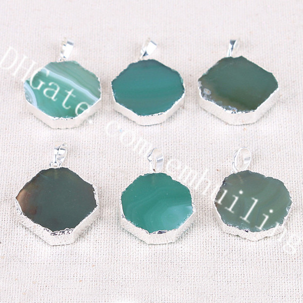 10Pcs 20-30mm Small Octagon Shape Silver Plated Edge Green Agate Pendant Charm Lucky Natural Brazillian Agate Slice Gemstone Jewelry Pendant