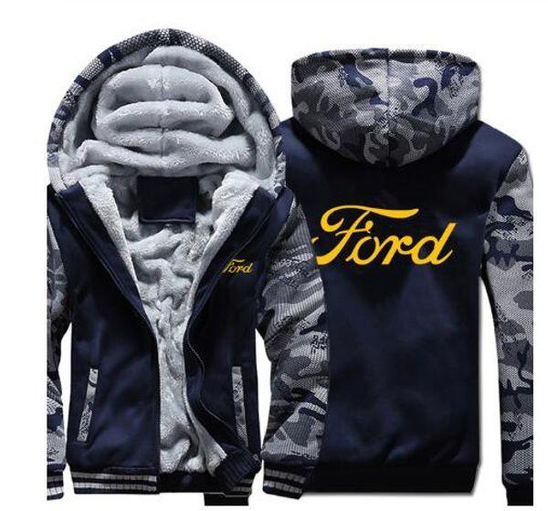 Ford Hoodies Inverno camuflagem manga Jacket Men Fleece Ford camisola Men