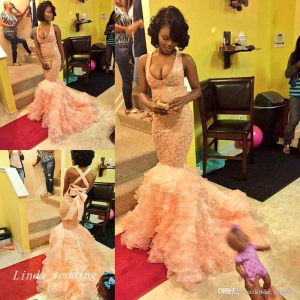 2019 Seksi Mermaid Balo Elbise Yüksek Kalite Halter Ruffles Organze Dantel Uzun Afrika Özel Durum Elbise Örgün Akşam Parti Elbise