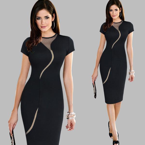 2019 Новая мода платье вокруг шеи сетки, чтобы получить талию облегающее платье повседневные платья