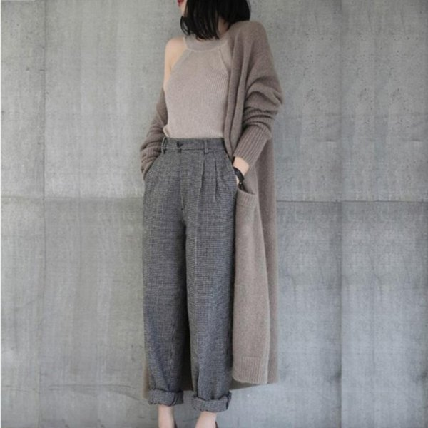 women's jacket twisted wool sweater casual solid color round neck retro long-sleeved loose cardigan warm long knit jacket