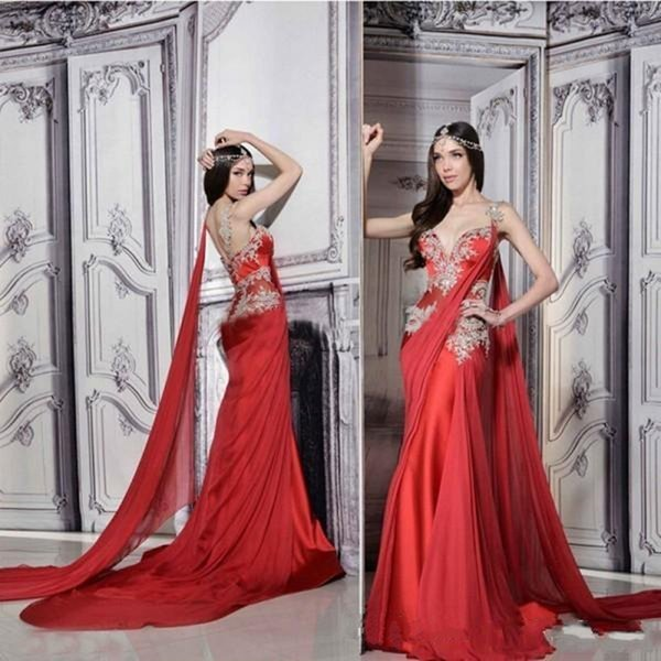 2019 New Gorgeous Indian Dresses Long Formal Red Evening Gowns Sheer Straps Court Train Ruched Chiffon Lace Appliques Prom Dress with Ribbon