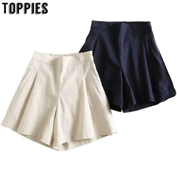 Ocio Pantalones cortos de lino de algodón Color sólido Cintura alta Pantalones cortos de pierna ancha Estilo japonés Verano Pantalones cortos sueltos
