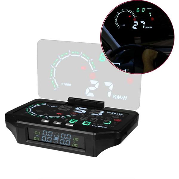 Carro HUD Cabeça Up Display Bluetooth Carro TPMS HUD Pressão Dos Pneus Sensor de Monitoramento da Cor de Projeção de Velocidade Excessiva de Alarme de Diagnóstico