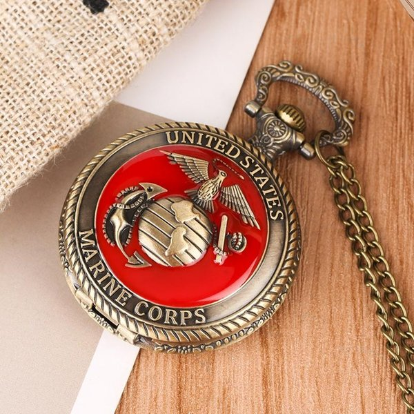 Vintage Quartz U.S Marine Corps Pocket Watch,Flower Carving Pendant Watch,Selected Alloy Link Chain Pendant Watch for Teens