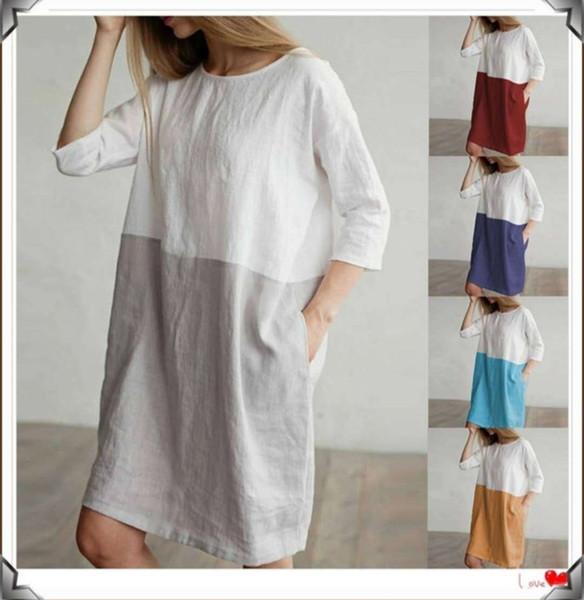 Vestido de algodón femenino Vestidos ocasionales femeninos Mujeres sexy vestido largo de verano vestidos de estilo callejero camisetas largas baratas