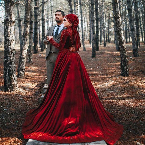 Бордовые бархатные свадебные платья Модест мусульманское свадебное платье Аппликации Кафтан Кристалл Свадебные платья из бисера Роскошные бисерные свадебные бальные платья