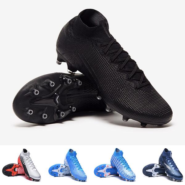 Mercurial Superfly 7 VII Elite Neymar AG-PRO Kramponlar Mavi Void futbol ayakkabıları Siyah Rüya Hız Mavi Işık Boots Çocuk Gençlik Futbol Ayakkabıları