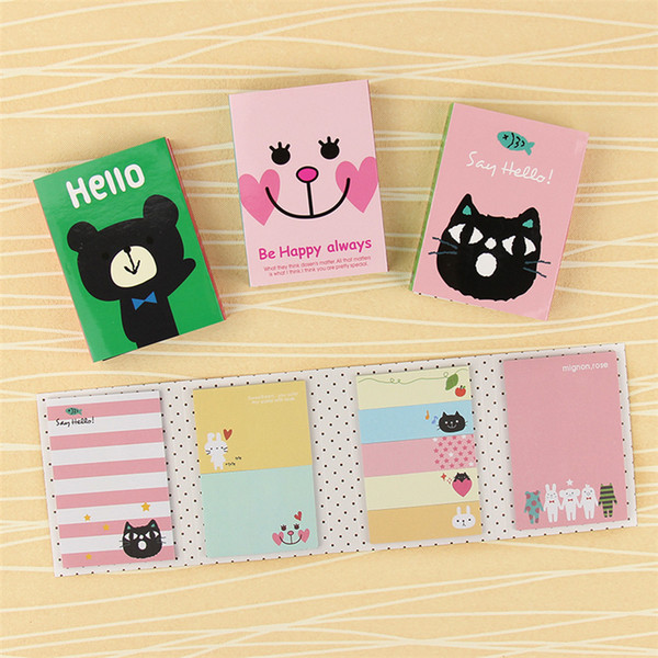 best selling Kawaii 4 Folding Memo Pad 1 PC Sticky Notes Memo Notepad Bookmark Gift Stationery cute sticker