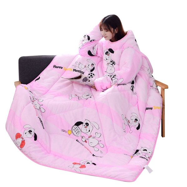 Winter Comforters Lazy Quilt with Sleeves family Blanket Cape Cloak Nap Blanket Dormitory Mantle Covered 1D20
