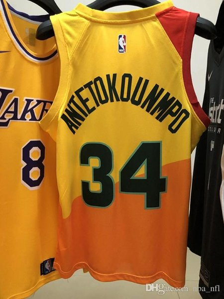 new product dfe92 c2a0d 2019 2020 Mens Bucks Giannis Antetokounmpo City Yellow Swingman Basketball  Jersey AU Hot Pressing Printed Name Number Authentic US Size XXS XXL From  ...