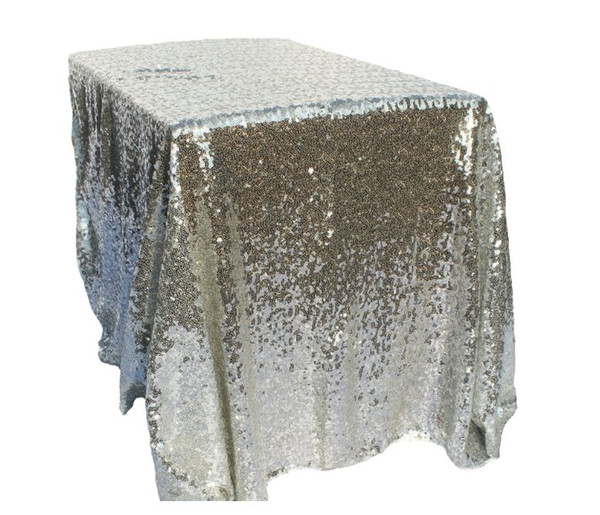 120*180cm Table Cloth Hotel wedding square tablecloth Gold silver champagne tablecloth Sequins PE party layout wedding props Polyester fibre