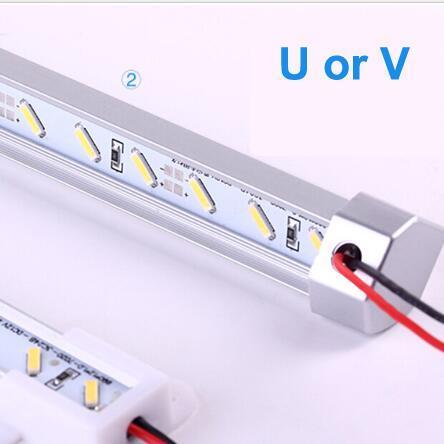 10pcs U / V STYLE 50CM DC 12V 36 SMD 7020 LED Rígido rígido LED Barra de tira de luz de techo con carcasa de aleación de aluminio