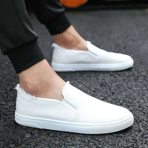 Brand Breathable Canvas Shoes Men Slip on Spring Autumn Black Casual Men Shoes White Fashion Loafers Casual Hot sale