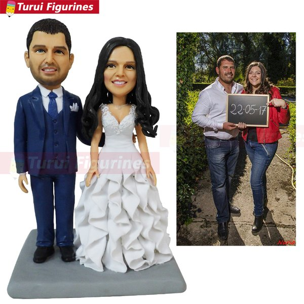 Pastel de bodas topper novio con barba personalizada Pareja Bobblehead mini pareja estatua personalizado oficial de policía bobblehead Turui Figurines