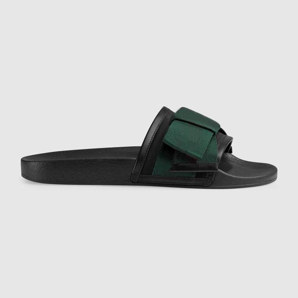 2019 Tasarımcı Kauçuk slayt sandal Çiçek brokar erkekler terlik Dişli dipleri Çevirme kadın çizgili Plaj nedensel terlik Kutusu ile US5-11