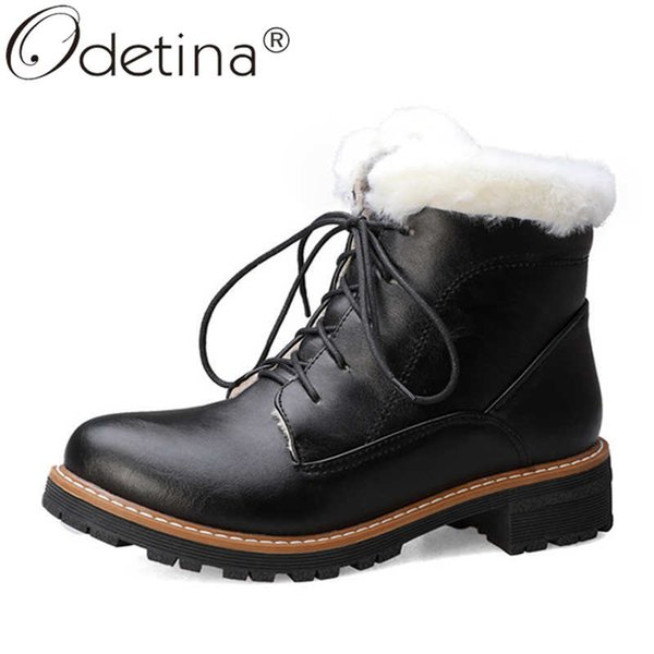 odetina women fashion round toe cross-tied lace up oxford boots ladiesnew sewing block mid heel thick fur platform snow boots