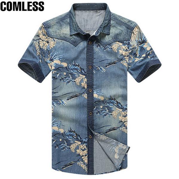 2017 New Jean Shirt Men Short Floral Print Men's Shirts Casual Fashion Design High Quality Cow Boy Shirts Plus Size 5xl Y19071301
