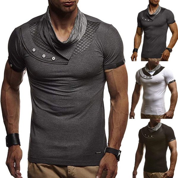 New Fashion T-Shirts Short Sleeve Men Summer Plain Collage Casual Black Gray T Shirt Size M-3XL