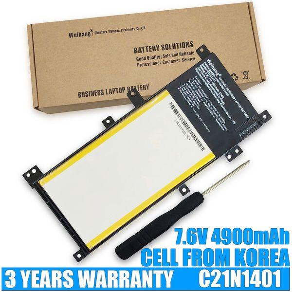 Weihang 4900mAh 37Wh 7.6V C21N1401 Laptop Akku für ASUS X455 X455L A455L A455L A455L A455L A455L K455L X454L Y453L W419L