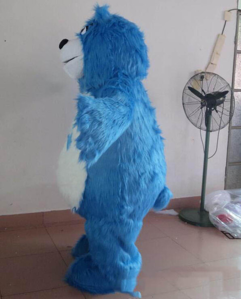 2019 Discount factory sale furry blue bear mascot costume with two small eyes for adult to wear