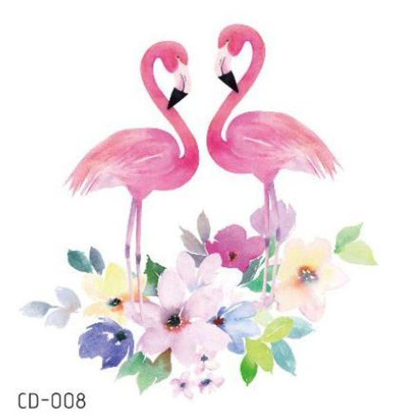 Etiqueta engomada del tatuaje falso tatuaje temporal Flamingo Bird flor impermeable Flash Tatto Tatouage Arte corporal para niña mujer niños