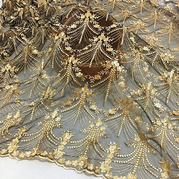 FFLACELL 50 * 125 cm de Alta Qualidade Tecido de Renda Africano Ouro Real Francês Net Bordado Tule Tecido de Renda Para O Vestido de festa nigeriano