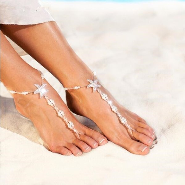 2019 New Pearls Barefoot Beach Sandals For Weddings Crystals Starfish Anklets Chain for Beach Wedding Party Toe Ring Bridal Bridesmaid Foot