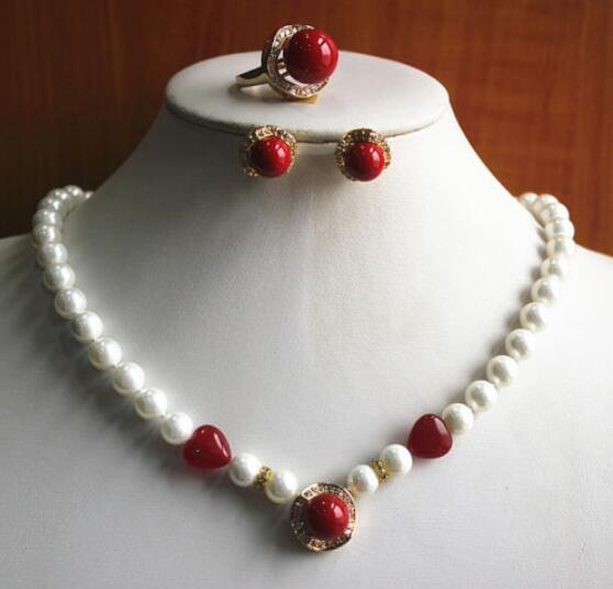 2019 Jewelryr Pearl Set Charming Women S White And Red Pearl