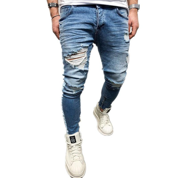2019SS blue jeans destroyed mens slim fit Jeans denim straight biker skinny jean pants Casual Long men ripped jeans Size 28-38 free shipping