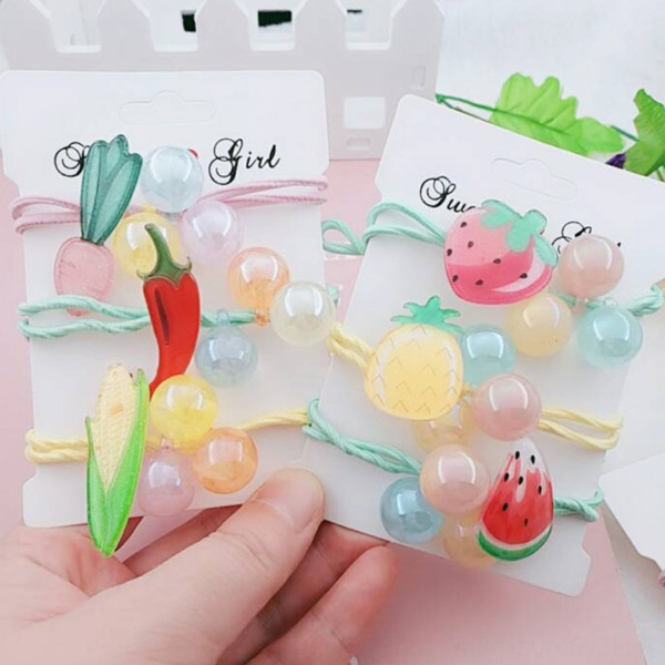 best selling Fruit rubber vegetable girl cute double band Fruit hair band knot color hair rope